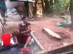 Desi South Indian Bhabhi Outdoor Shower