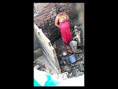 Next Door Indian Bhabhi Taking Open Air Shower