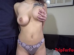 Asian guy, creampie again to amazing big boobs girl