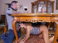 Latina secretary Venus Afrodita gives a XXX blowjob to boss' stepson