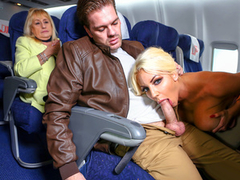 Muffs are wet so flight attendant and passenger have XXX sex on plane