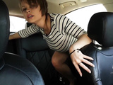 Crazy slut masturbates and squirts in the car