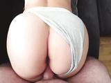 Big Butt White Girl Fucks Through Panties