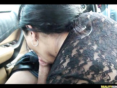 Awesome ebony hottie Angellina goes naughty in car