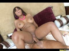 Chubby ebony Nicole rides big cock with juicy slit