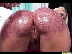 Nasty lesbian slut Molly showing off her big butt
