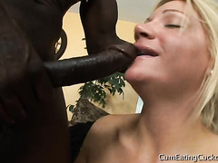 Blonde whore fucked with big black cock full cycle