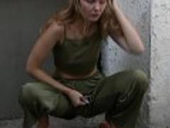 Kinky amateur hot MILF pees in her pants in public