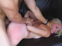 Filthy blonde bitch gets rough fuck of her life