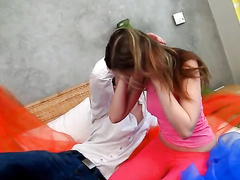 Hot teen cutie in her first painful anal fucking