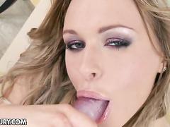 Horny Amanda Blake serves her tight juicy pussy hot