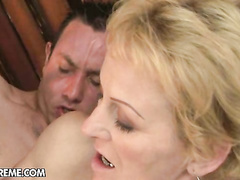 Old neighbor lady needs hel of this young big cock