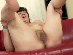 Nasty amateur granny tries a young cock in pussy
