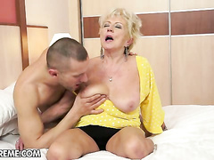 Nasty hairy granny deep stabbed with huge hard cock