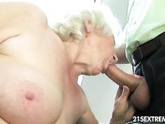 Horny cute granny hardcore fucked and face jizzed