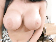 Sexy diva Aletta shows off her huge tits and booty