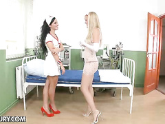 Hot lesbian nurses doing amazing pussy examination