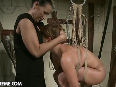 Cruel mistress makes this shaved pussy squirting