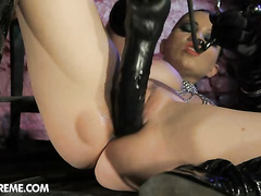 Nasty cruel hottie Tera Bond dildo fucking holes