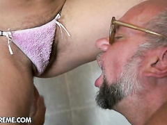 Kinky babe in hardcore fetish fuck with old dude
