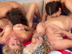 Mind blowing foursome with two grannies licked hard